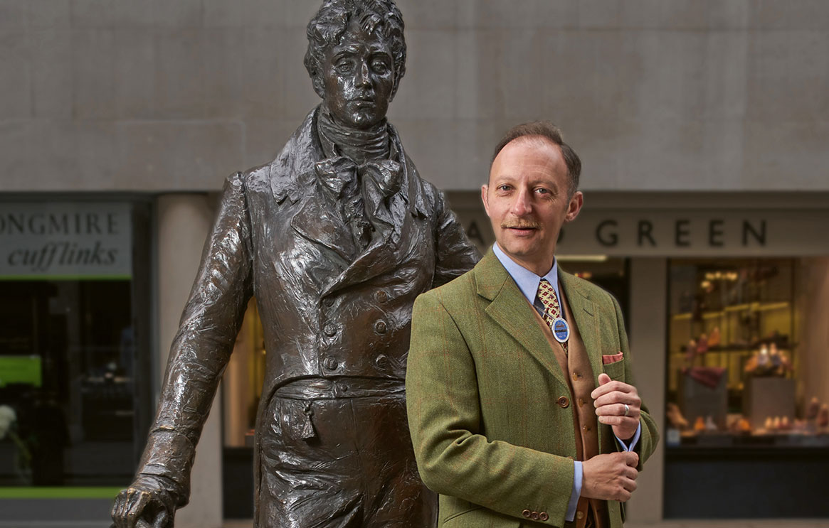 Statue of 'Beau' Brummell in Jermyn Street, London with Russell Nash, Blue Badge Guide