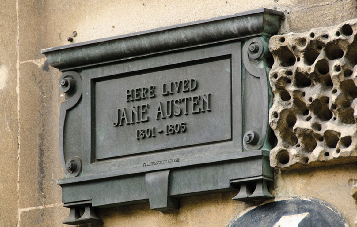 Jane Austen bronze plaque in Bath