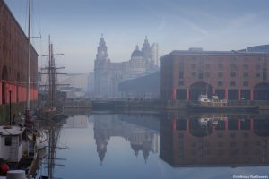 Maritime Albert Dock on Liverpool waterfront with the Three Graces historic buildings