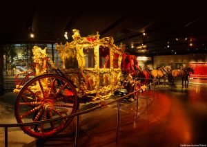 The Lord Mayor's State Coach is on display in the Museum of London, and is a large gilded horsedrawn carriage. 'VistBritain/Andrew Pickett'