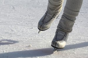 Close up of ice skates