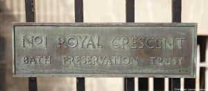 Street sign for Number 1 Royal Crescent. Georgian Bath.