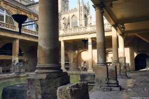 The Roman Baths. bath Abbey in the background.