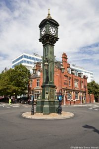 The Jewellery Quarter. Historic buildings of the Georgian square, St Paul's Square. Clock Tower.