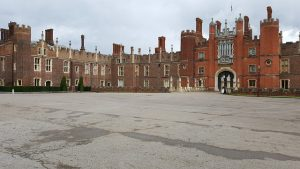 See the many chimneys from the courtyard at Hampton Court Palace