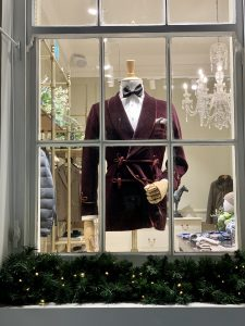 Jacket and tie in a London shop window