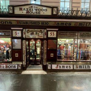 The shop front of James Smith umbrella shop, London