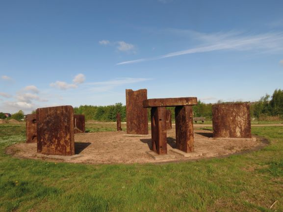 A stone henge made of steel