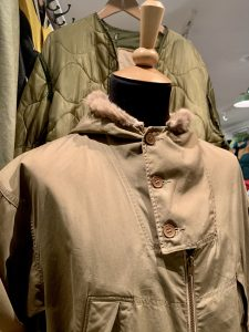 A military jacket on display at the Covent Garden's The Vintage Showroom