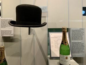 Churchill's Bowker hat and a bottle of champagne