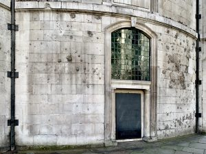 The bomb blasted walls of St Clement Danes the RAF Church, built in 1682