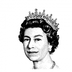 the head of Queen Elizabeth II