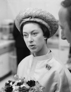 Black and white head shot of Princess Margaret