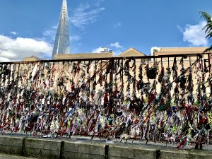 Fabric tied to railings